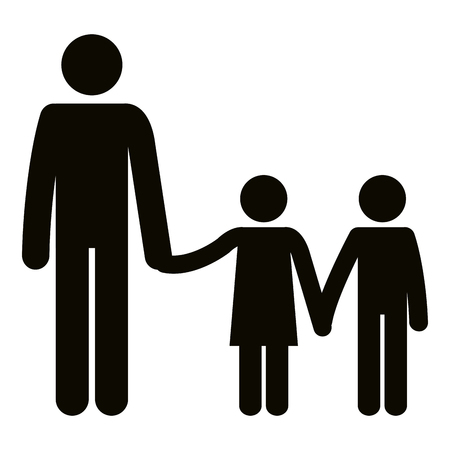 Figure father with son and daughter avatars vector illustration design