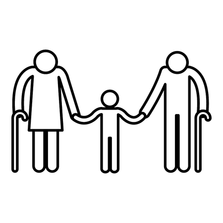 Grandparents couple with grandson avatars silhouettes vector illustration.