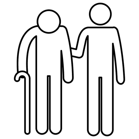 Grandfather with son silhouettes avatars vector illustration design.