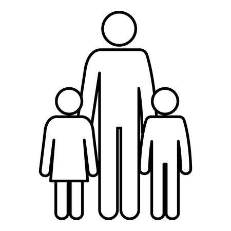 A figure of father with son and daughter avatars vector illustration design