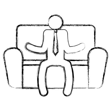 man sitting in sofa vector illustration design