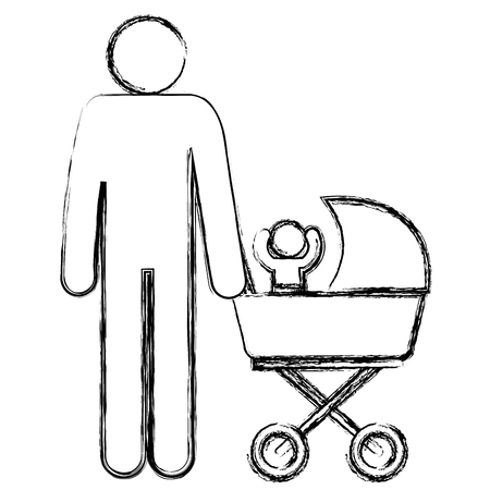 figure father with baby in cart avatars vector illustration design