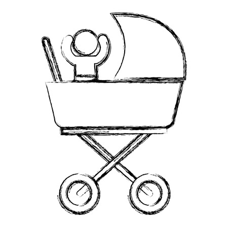 baby in cart isolated icon vector illustration design