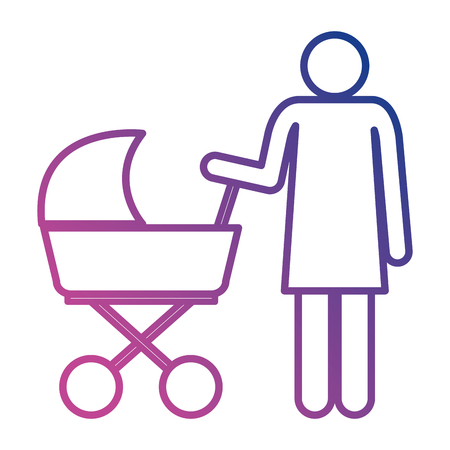 figure mother with baby cart silhouette avatars vector illustration design
