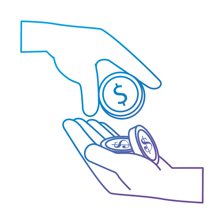 Hands with coin money isolated icon vector illustration design Banque d'images - 101055906