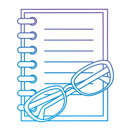 Notebook school with glasses vector illustration design