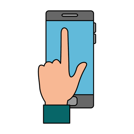 Hand drawn hand with smartphone device vector illustration design