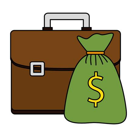 Hand drawn money bag with portfolio vector illustration design Illustration