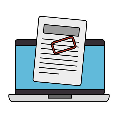 computer laptop with financial documents vector illustration design