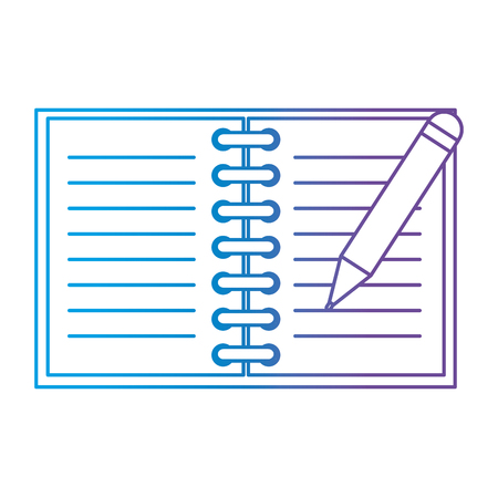 Office notebook with pencil vector illustration design