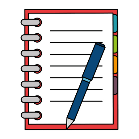 Office notebook with pen vector illustration design