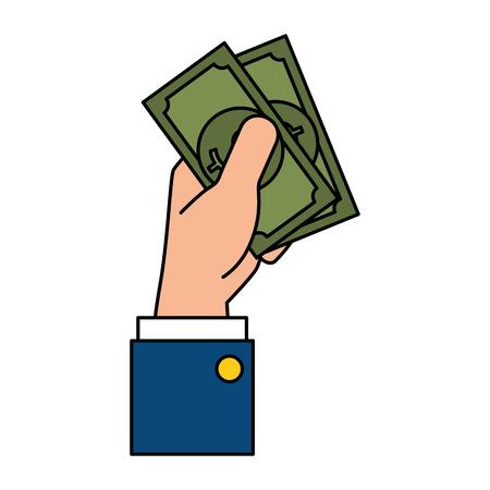 Hand drawn hand with bills dollar money icon vector illustration design