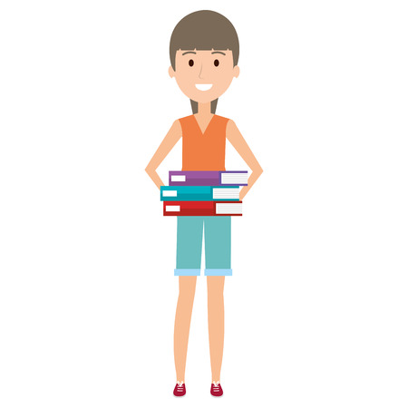 Hand drawn young woman with pile books vector illustration design