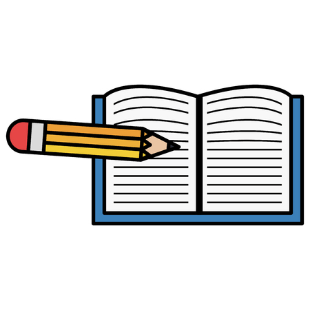 Hand drawn notebook school with pencil vector illustration design
