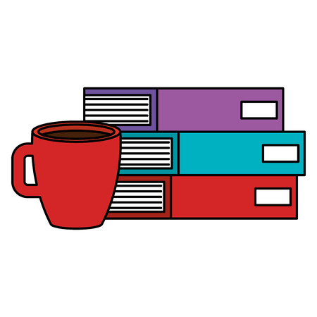 Hand drawn books school pile with coffee cup vector illustration design