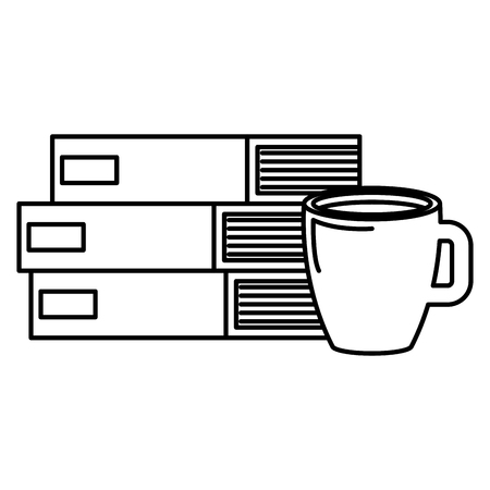 books school pile with coffee cup vector illustration design