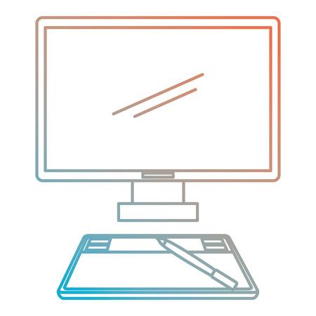 computer desktop with drawing board vector illustration design
