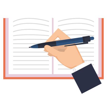 hand writing in notebook school vector illustration design