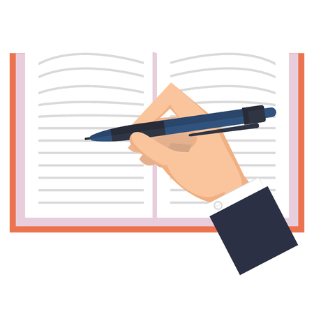 hand writing in notebook school vector illustration design