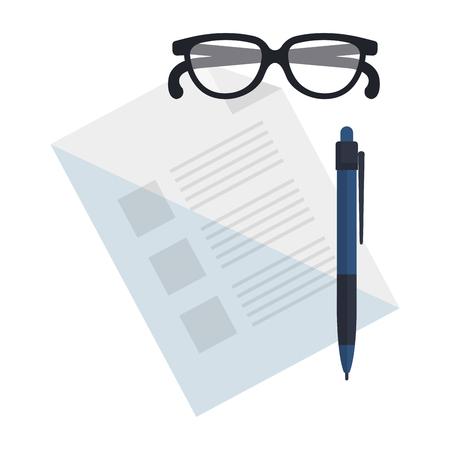 paper document with pen vector illustration design Stock Illustratie
