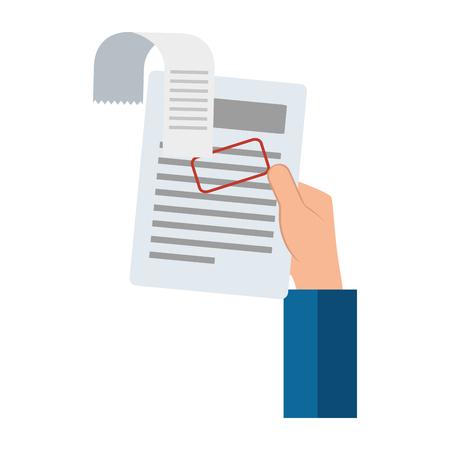 Hand drawn hand lifting finance document paper vector illustration design Illustration