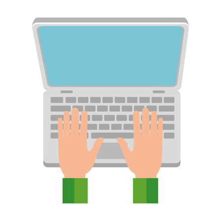 Hand drawn hands using computer laptop vector illustration design Illustration