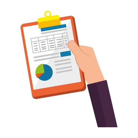 hand lifting clipboard finance document vector illustration design