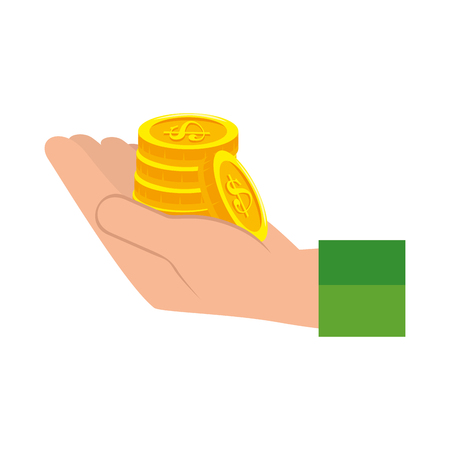 hand with coins money isolated icon vector illustration design
