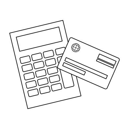 calculator device with credit card vector illustration design 版權商用圖片 - 101059260