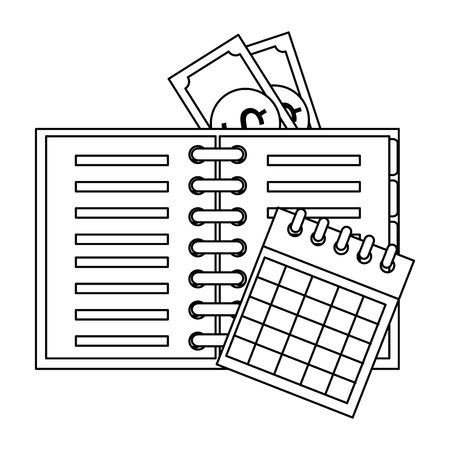 office notebook with bills and calendar vector illustration design