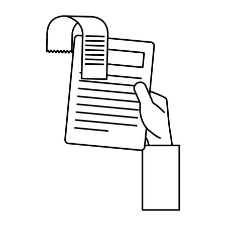 hand lifting finance document paper vector illustration design
