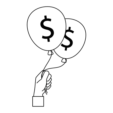 hands lifting balloons air party with dollars sign vector illustration design Illustration