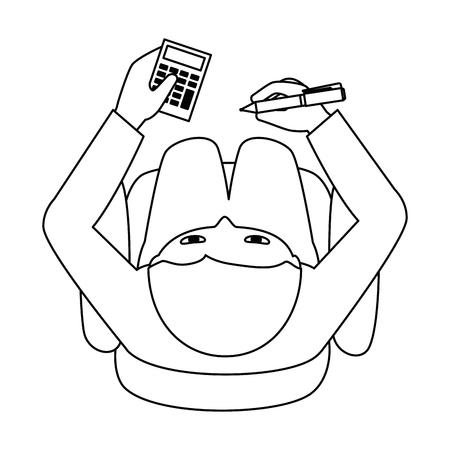 man using calculator device vector illustration design