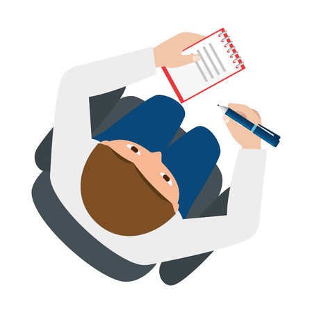 man writing in office notebook with pen vector illustration design
