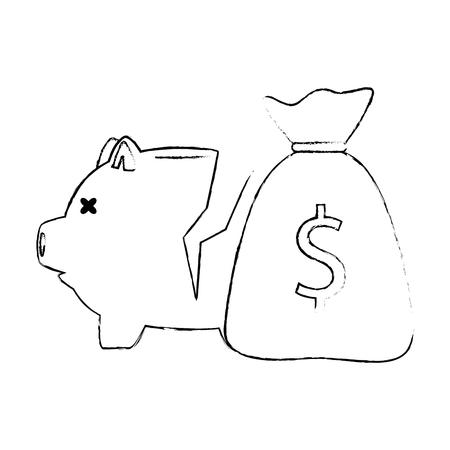 Piggy savings broken with money sack vector illustration design. Standard-Bild - 101078247