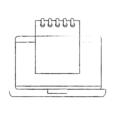 Laptop with calendar reminder vector illustration design