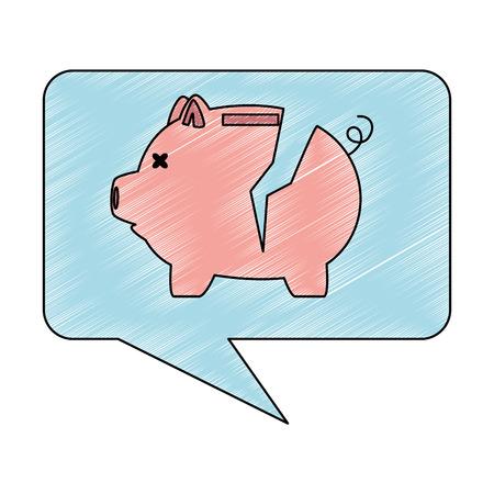 Piggy savings in speech bubble vector illustration design Illustration