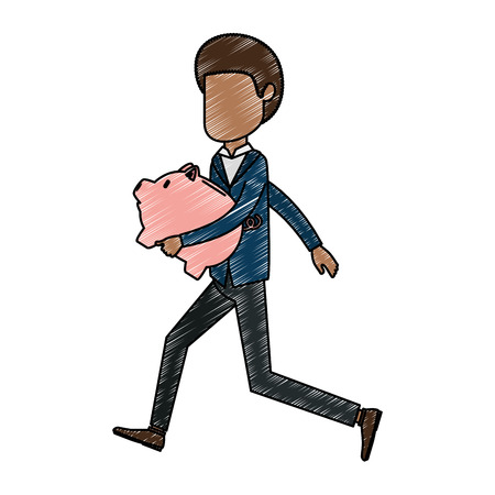 Businessman sad with piggy savings avatar character vector illustration design.
