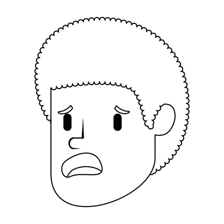 Businessman sad head avatar character illustration design Çizim