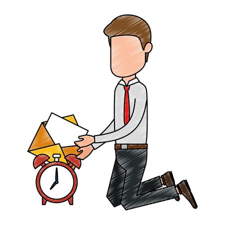 Businessman with alarm clock and envelope illustration design Иллюстрация