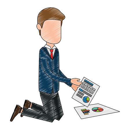 Faceless businessman with documents avatar character
