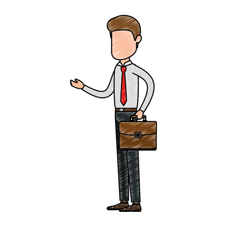 Faceless businessman with briefcase avatar character