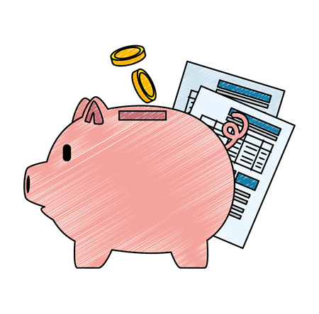 piggy savings with coins and documents vector illustration design