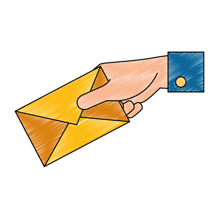 Hand with mail envelope illustration design