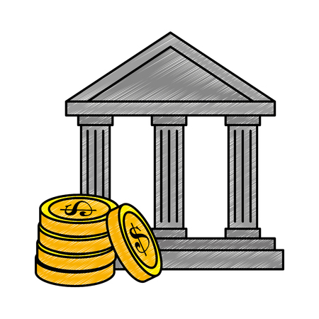 Bank building with coins illustration design