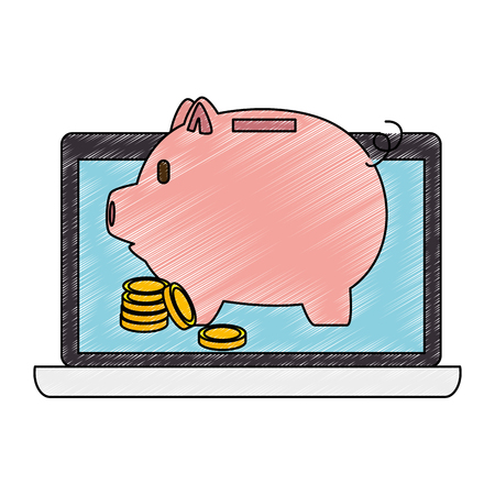 piggy savings with laptop and coins vector illustration design