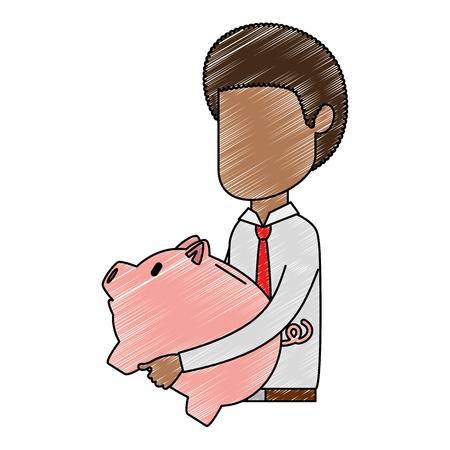 businessman sad with piggy savings avatar character vector illustration design Ilustração