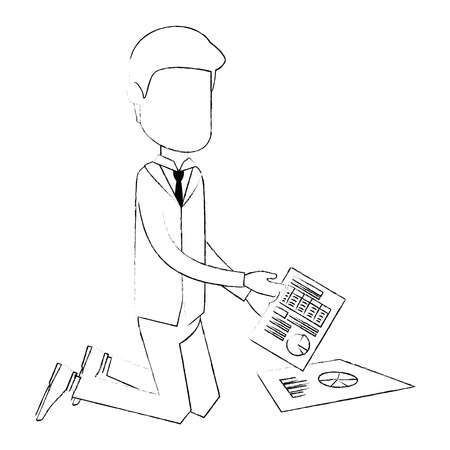 Businessman with documents financials avatar character vector illustration. Illustration