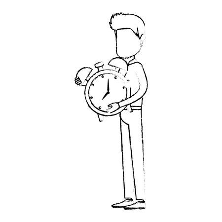 businessman sad with alarm clock avatar character vector illustration design