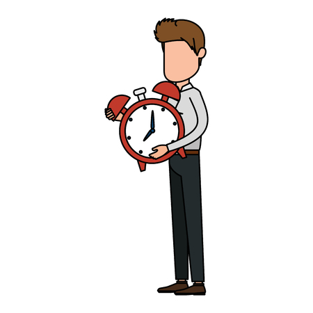 Businessman sad with alarm clock avatar character vector illustration design.